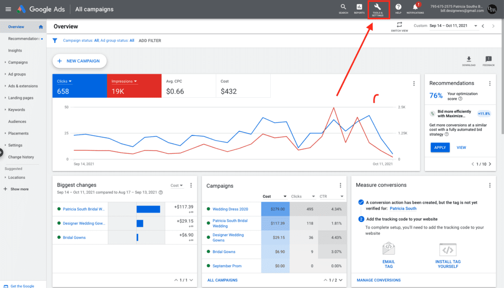 Google Ads Tools and Settings