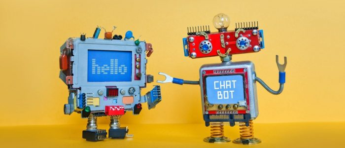 Chat bot robot welcomes android robotic character. Creative design toys on yellow background