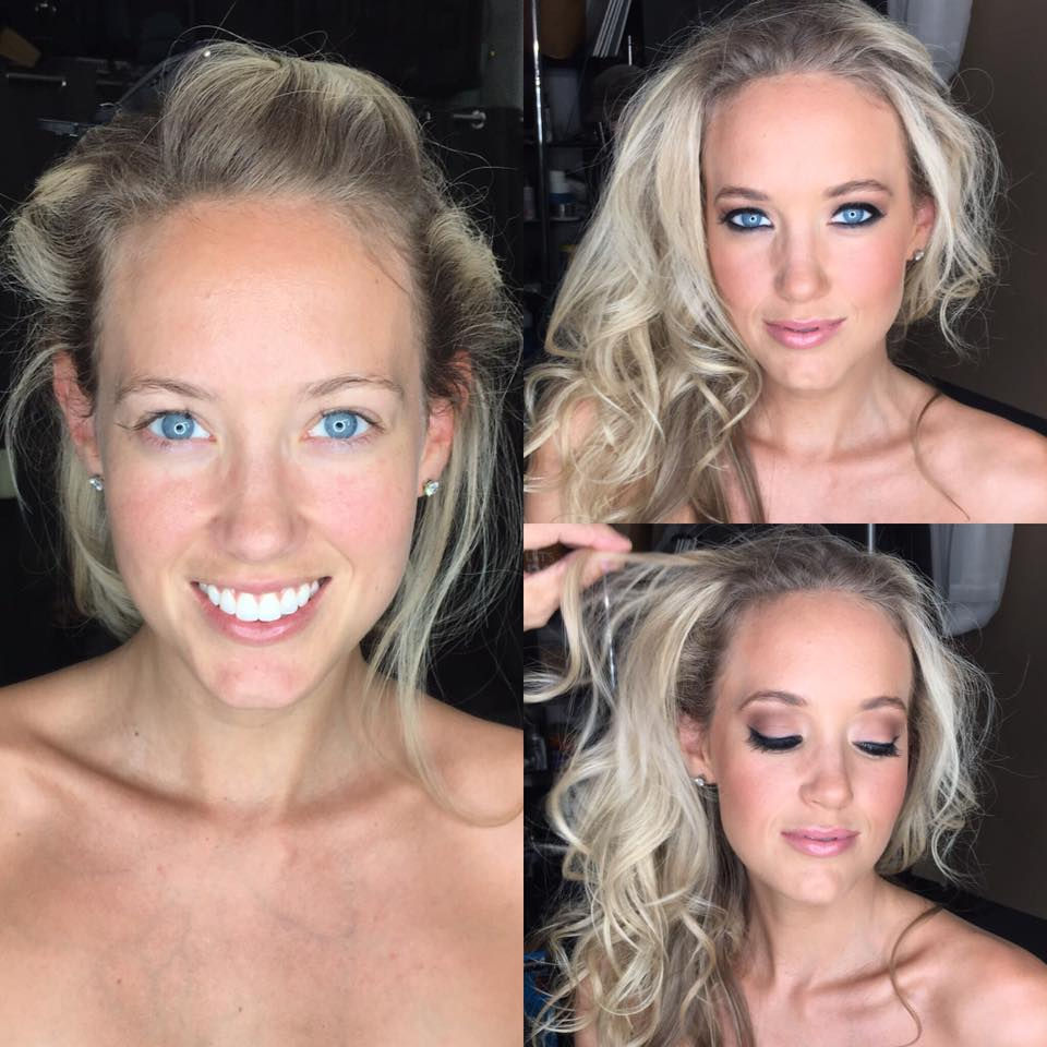 Model Before and After Makeup Photo