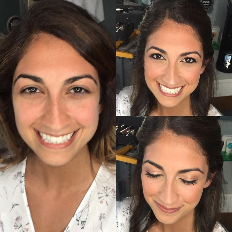 Girls before and after makeup photo