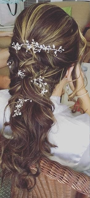 Brown hair down with flowers hair style