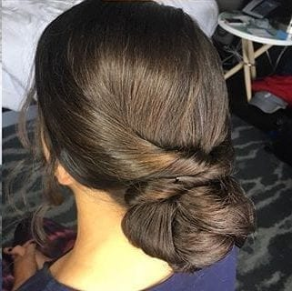 Brunette Wedding bun hair styling