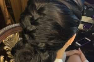 Braided low bun black_hair